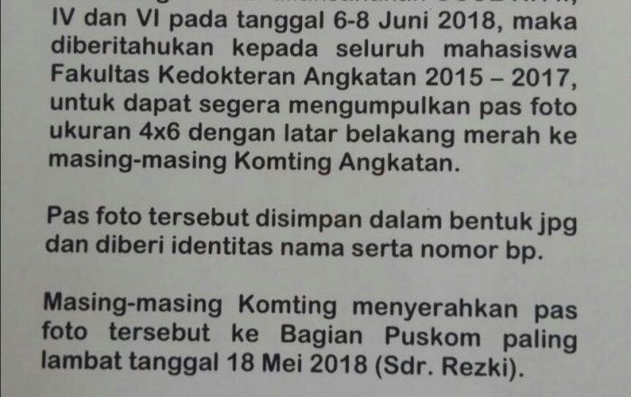 Pengumuman Pengumpulan Pas Foto Peserta OSCE KK II-IV-VI Tahun 2018